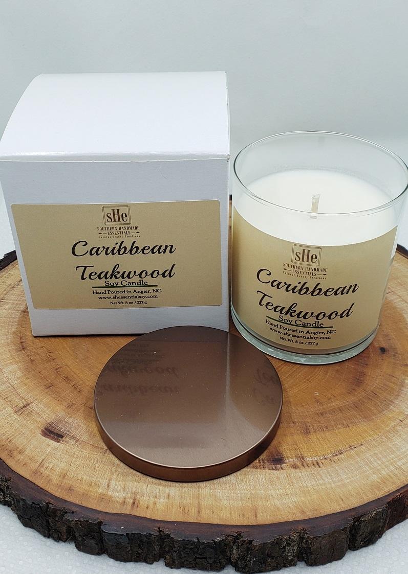 HOME ESSENTIALS- Soy Candle (Caribbean Teakwood)