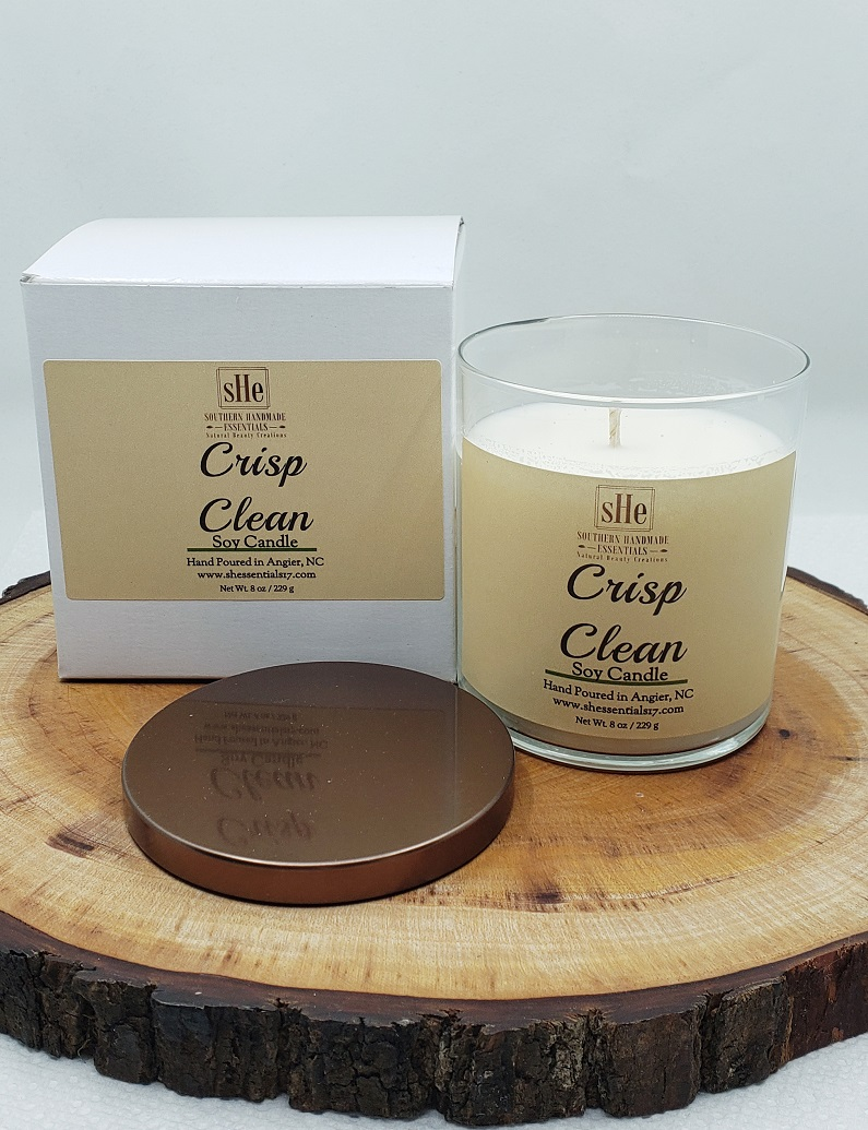 HOME ESSENTIALS- Soy Candle  (Crisp & Clean)